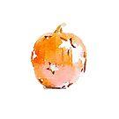 Watercolor Pumpkin with Star Cutouts by Ann Drake