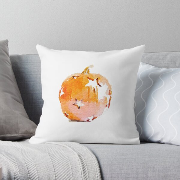 Watercolor Pumpkin with Star Cutouts Throw Pillow