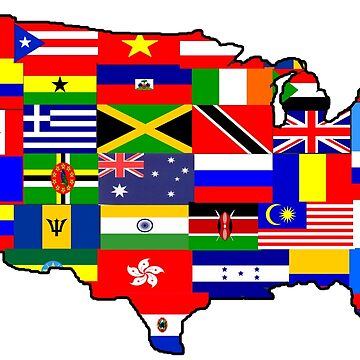 Immigration USA map of Flags Sticker by MikePrittie