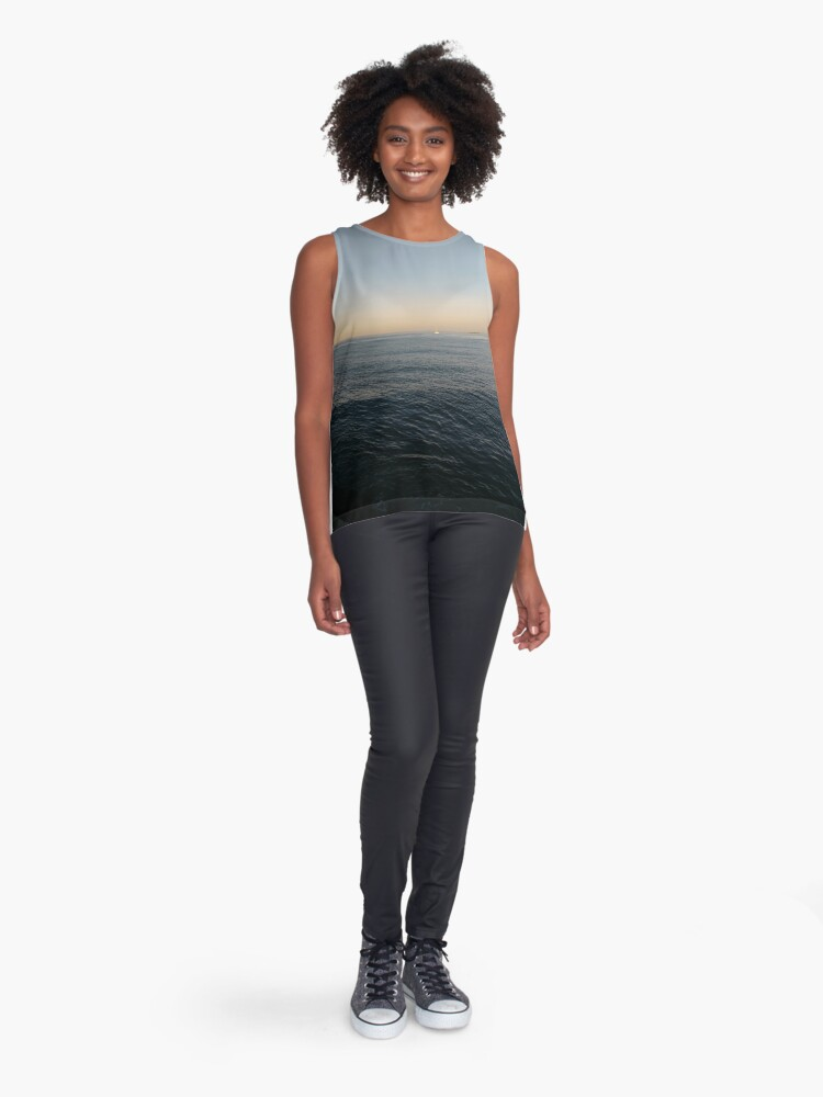 Alternate view of Sky, water, horizon, sea, ship, waves, island, glow, #Sky, #water, #horizon, #sea, #ship, #waves, #island, #glow Sleeveless Top