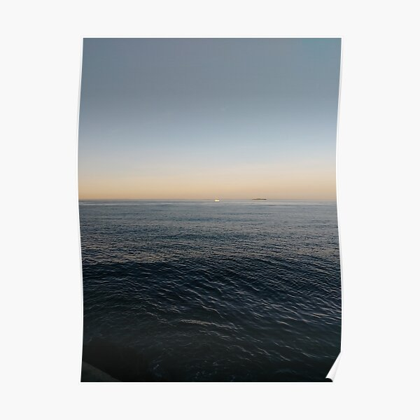 Sky, water, horizon, sea, ship, waves, island, glow, #Sky, #water, #horizon, #sea, #ship, #waves, #island, #glow Poster