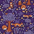 Foxes Playing in a Purple Forest by latheandquill