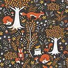 Foxes Running in a Forest of Fall Trees by latheandquill