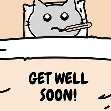 Get Well Soon Sick Cat in Bed Card by critterville
