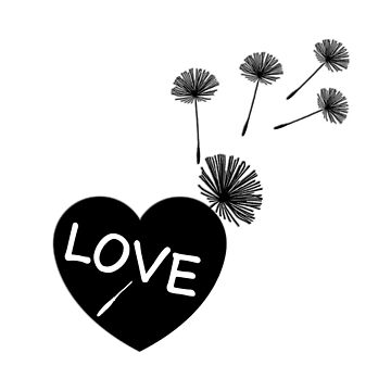 Sweet Black & White Love Heart with Dandelions by critterville