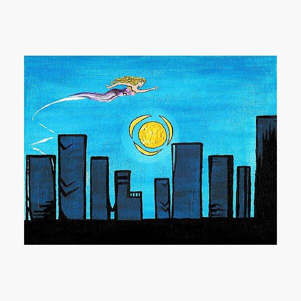 Skyline Painting Super Hero Woman City  Photographic Print