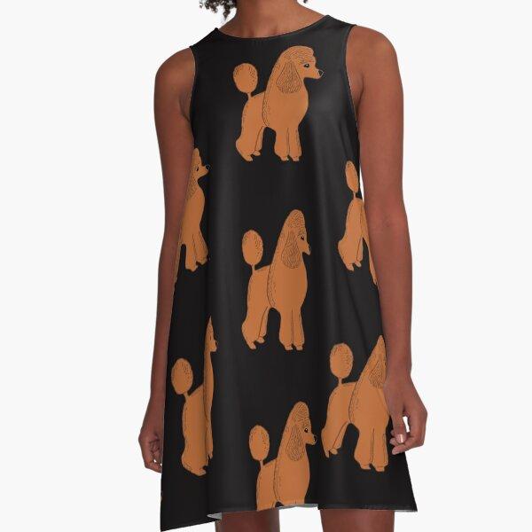 Apricot Poodle on Black A-Line Dress