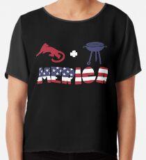 Cougar plus Barbeque Merica American Flag Blusa