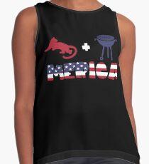 Cougar plus Barbeque Merica American Flag Blusa sin mangas