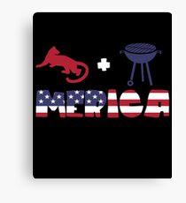 Cougar plus Barbeque Merica American Flag Lienzo