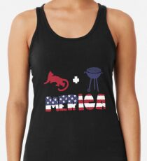 Cougar plus Barbeque Merica American Flag Camiseta con espalda nadadora