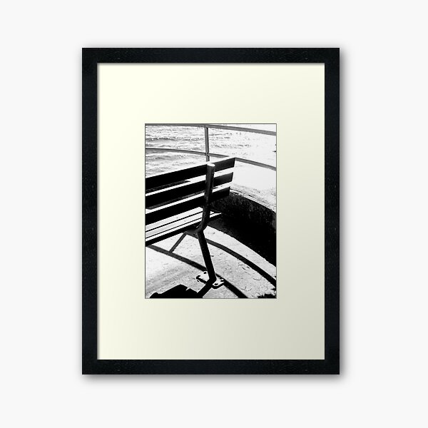 Bench and Rail photo Framed Art Print