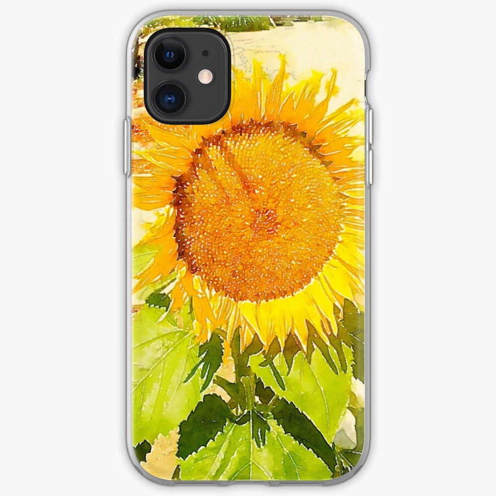 Sunflower in watercolor #2 iPhone Case & Cover