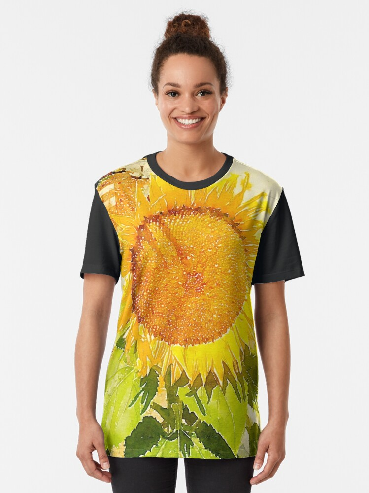 Alternate view of Sunflower in watercolor #2 Graphic T-Shirt