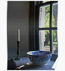 Blue Flowered Bowl Poster