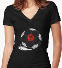 ba8dd5669 Vintage Soccer Albania Flag T-shirt Albanian Pride white version Women s  Fitted V-Neck