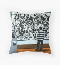 Getting Into Pollack - art museum series oil painting Throw Pillow