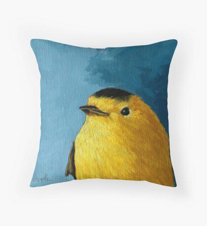 Baby Warbler - bird painting Throw Pillow