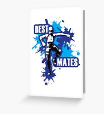 Gaming - Best Mates Dance Move - Blue Greeting Card