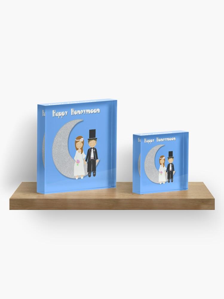 Alternate view of Happy Honeymoon Acrylic Block