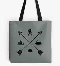 Bigfoot Camping Tribal Arrows Emblem Tote Bag