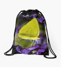 Yellow Butterfly on Purple Flower Drawstring Bag