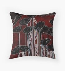 Poppies / Black poppies / Red Poppies / cityscape Throw Pillow