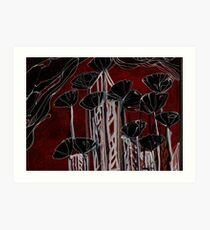 Poppies / Black poppies / Red Poppies / cityscape Art Print