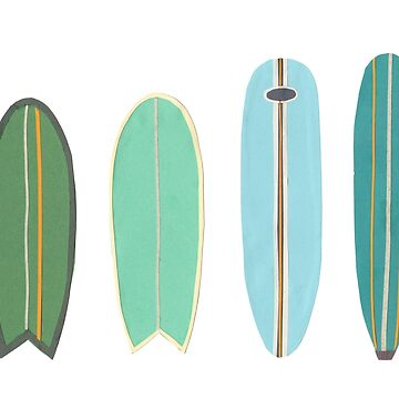 Surfboard line up blue-green by sandymitchell