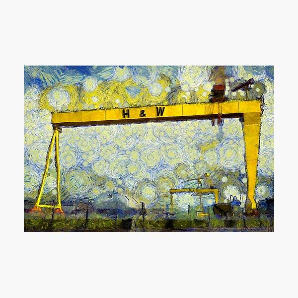 Starry Belfast Shipyard Photographic Print