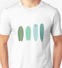 Surfboard line up blue-green Unisex T-Shirt