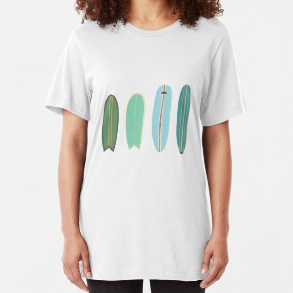 Surfboard line up blue-green Slim Fit T-Shirt