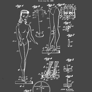 Barbie Fashion Doll Mattel Toy Patent Drawing Design by Framerkat