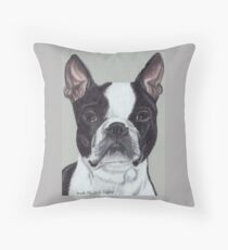 Boston Terrier Vignette Throw Pillow