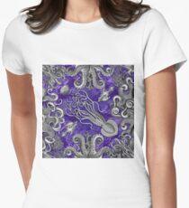 The Kraken (Purple, Square, Alt) Women's Fitted T-Shirt