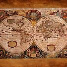Hondius's 1630 AD World Map on Parchment effect BG by Skye Ryan-Evans