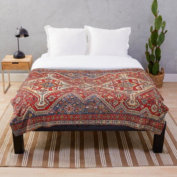 Red & Blue Persian Qashqai Rug Print Throw Blanket