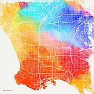 Colorful Cities - City Map of Los Angeles by Serge Averbukh