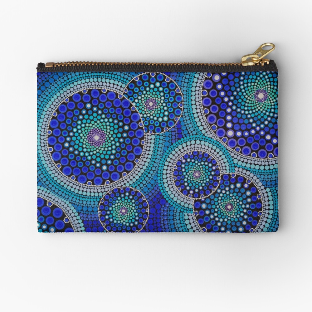 Blue Seeds Of Life Bubbles - Art&Deco By Natasha Zipper Pouch