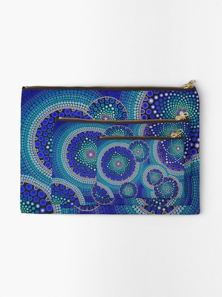 Alternate view of Blue Seeds Of Life Bubbles - Art&Deco By Natasha Zipper Pouch