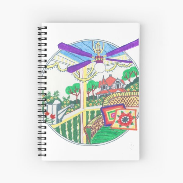 Country rattan chair on a terrace Spiral Notebook