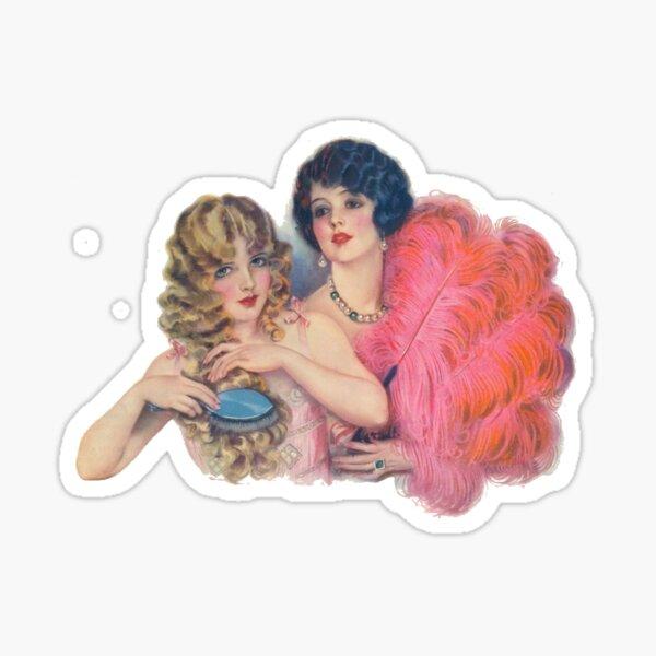 Vintage Flappers Preen In Mirror Sticker