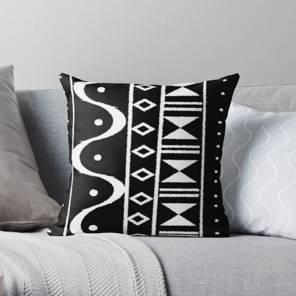 Tribal Print Black/White Throw Pillow