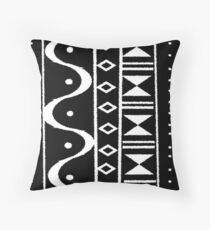 Tribal Print Black/White Throw Pillow
