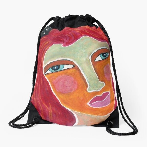 Red on a Starry Night Drawstring Bag
