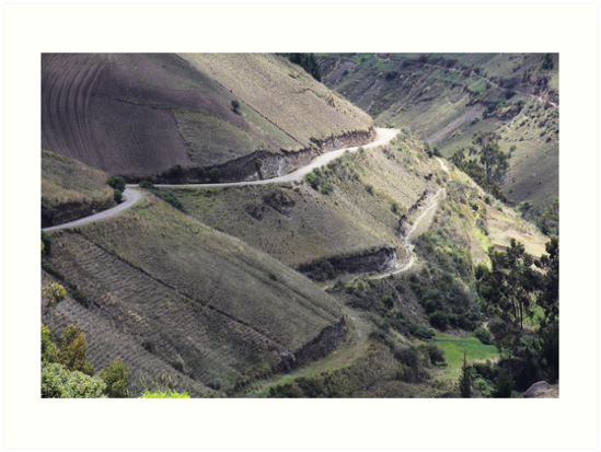 Roads carved into Ecuador rural hillside by Kendall Anderson