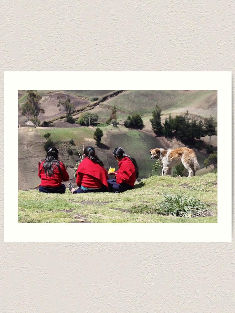 Alternate view of Dog watching three school girls eat lunch, Ecuador rural hillside Art Print