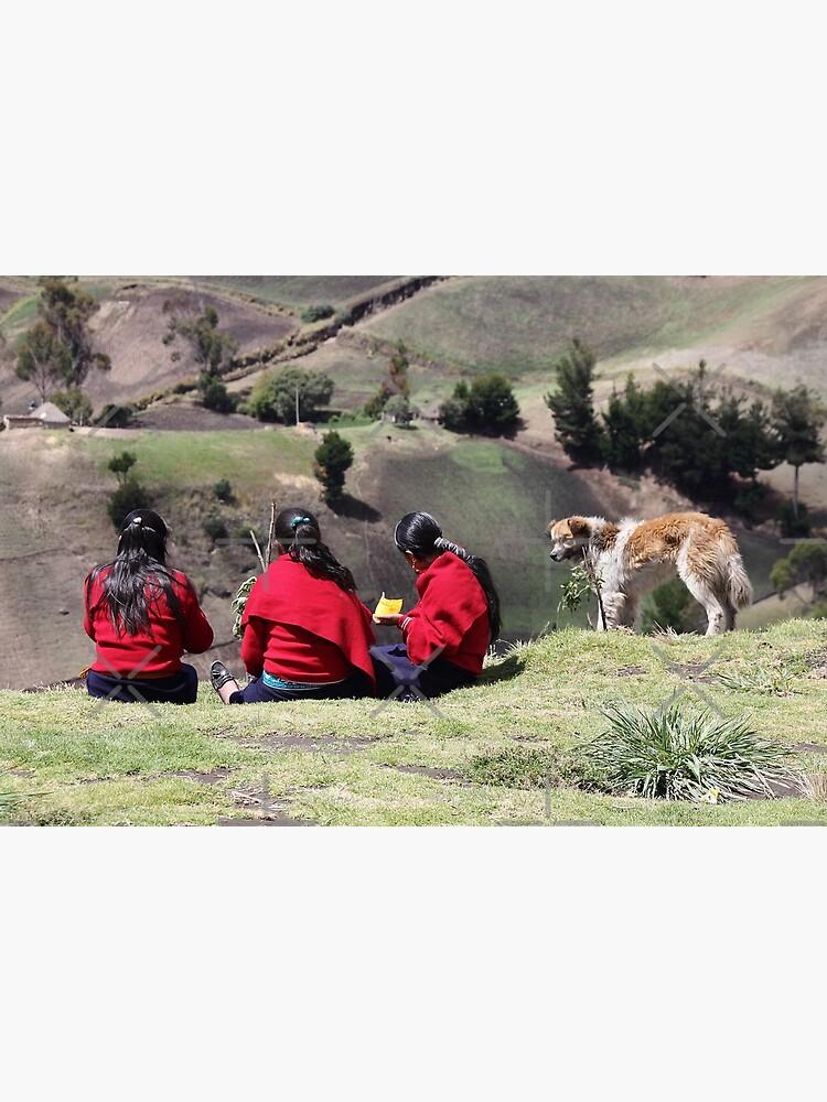 Dog watching three school girls eat lunch, Ecuador rural hillside by kpander