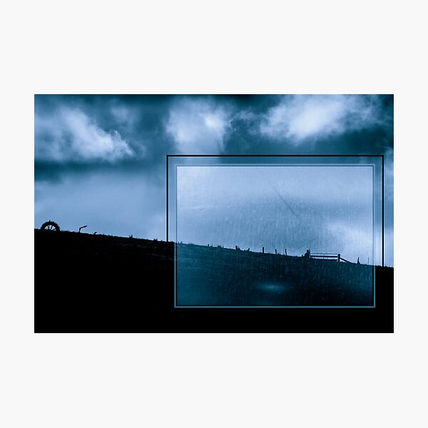 Blue Landscape with Urban Grunge Photographic Print