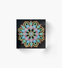 Red Star Dot Mandala - Art&Deco By Natasha  Acrylic Block
